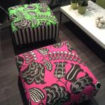 Création de poufs Tissus designers Guild et christian lacroix cabanon