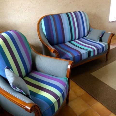 Relooking Salon rayé bleu Toiles du soleil - Brest